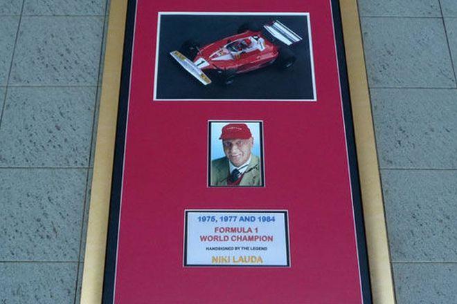 CHARITY LOT - Framed Signed Print - Niki Lauda 1975, 1977, 1984 Formula 1 Champion