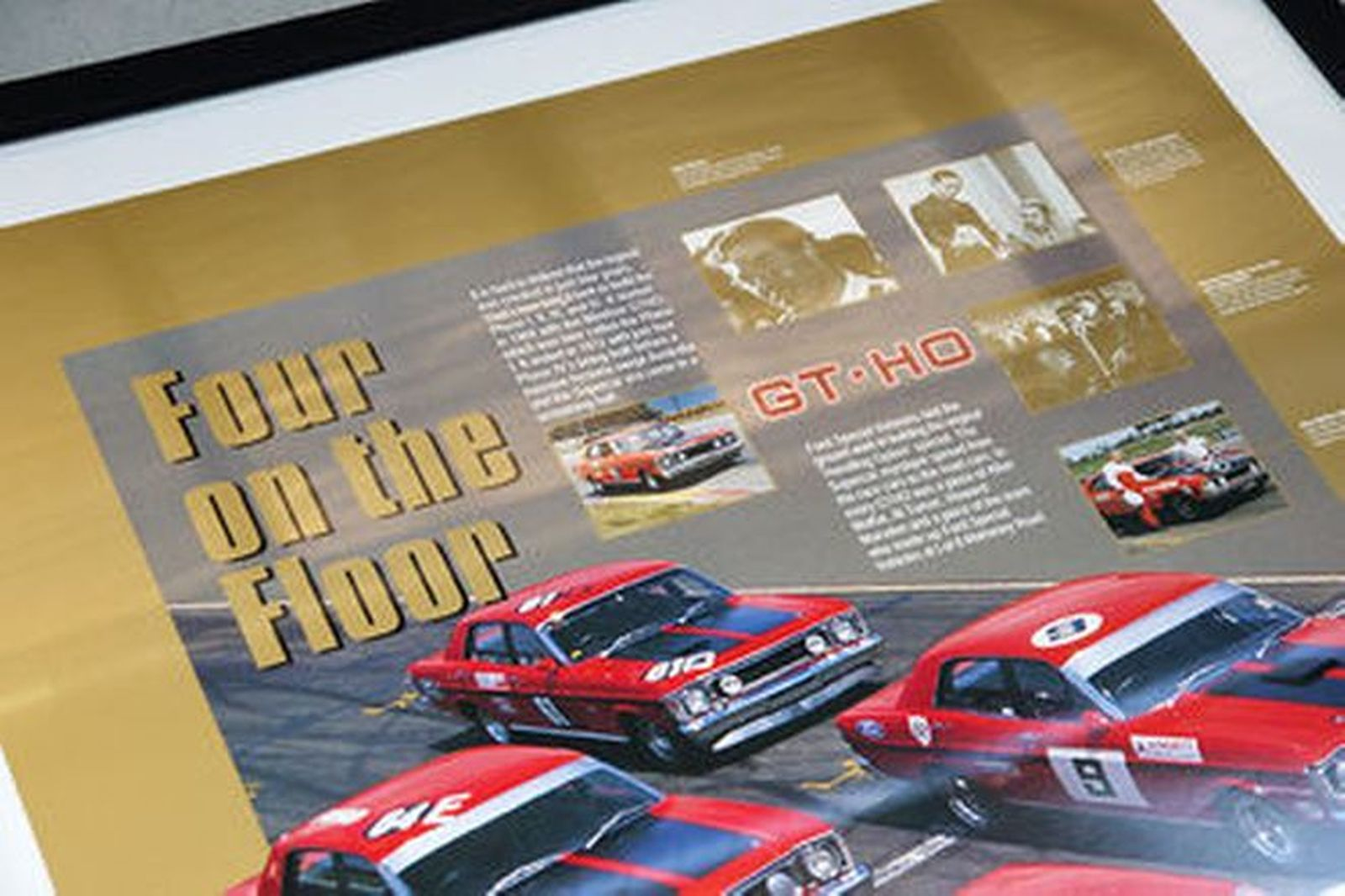Framed Signed Poster - 'Four on the Floor' GT-HO Signed by Allan Moffat (105 x 75cm)