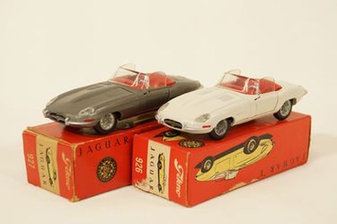 Model Cars x 2 - Tekno diecast Jaguar E-Type Roadster in White & Gunmetal (all in boxes)