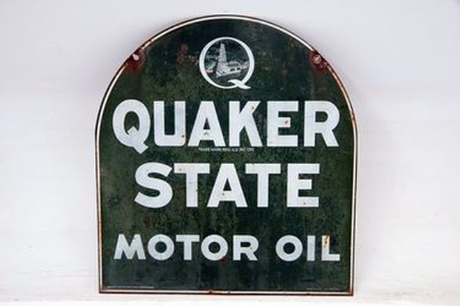 Enamel Sign - Quakers State Motor Oil Sign (73 x 73cm)