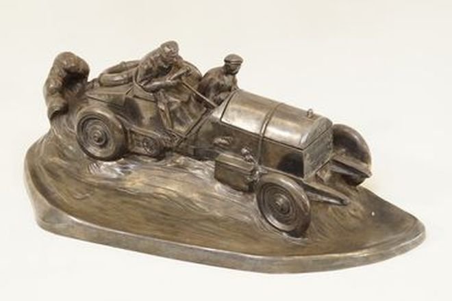 Pewter Model - c1930s Pewter racing car with ceramic inkwell  (39cm long)