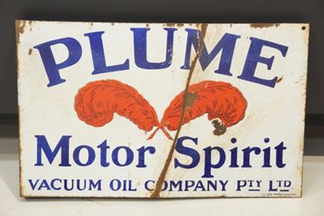 Enamel Sign - Plume Motor Spirit - double sided wall mount