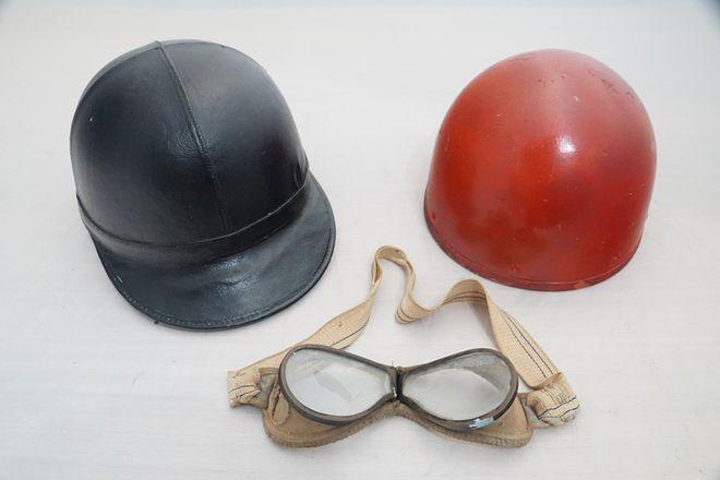 Vintage Racing Helmets -  Aviakit Leather Helmet Black & Pudding Basin Helmet and Racing Goggles
