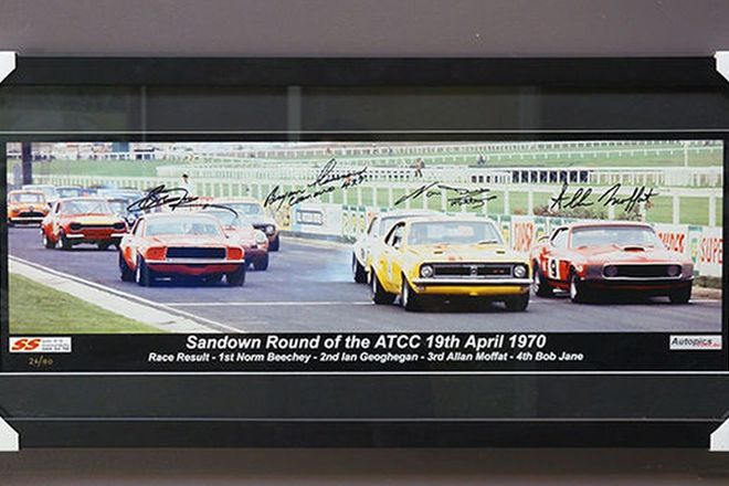 Framed Signed Photograph - Start line 1970 Australian Touring Car Championship at Sandown