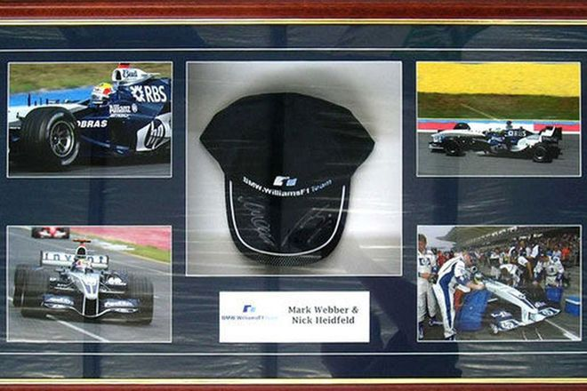 Print - Large Mark Webber print and signed cap