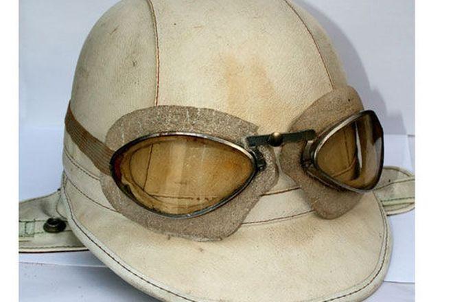 Period Motorcycle Helmet & Goggles
