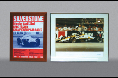 1x Framed Photo - Patrick Tambay Adelaide GP, 1x Framed 1973 Silverstone Poster