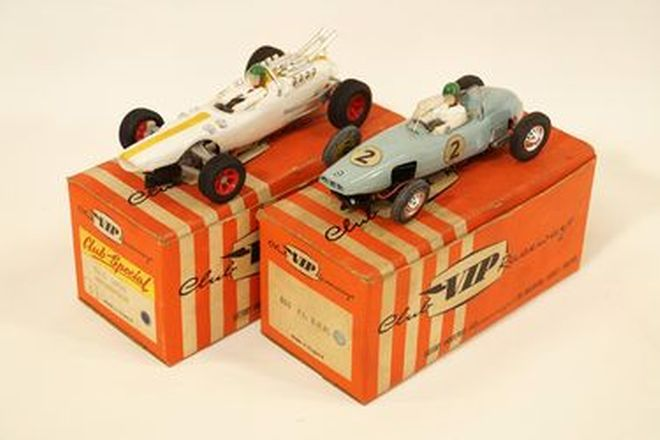 Slot Cars x 2 - VIP plastic BRM F1 R63 Light Blue & Lotus Indianapolis R67S White