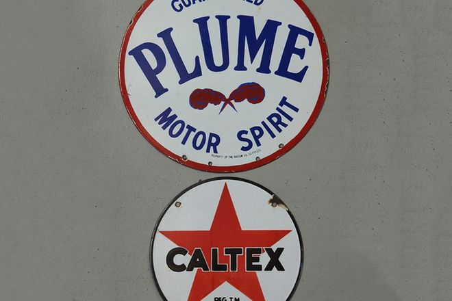 Enamel Signs x 2  - Plume Double Sided Round  (60cm) & Caltex Round (50cm)