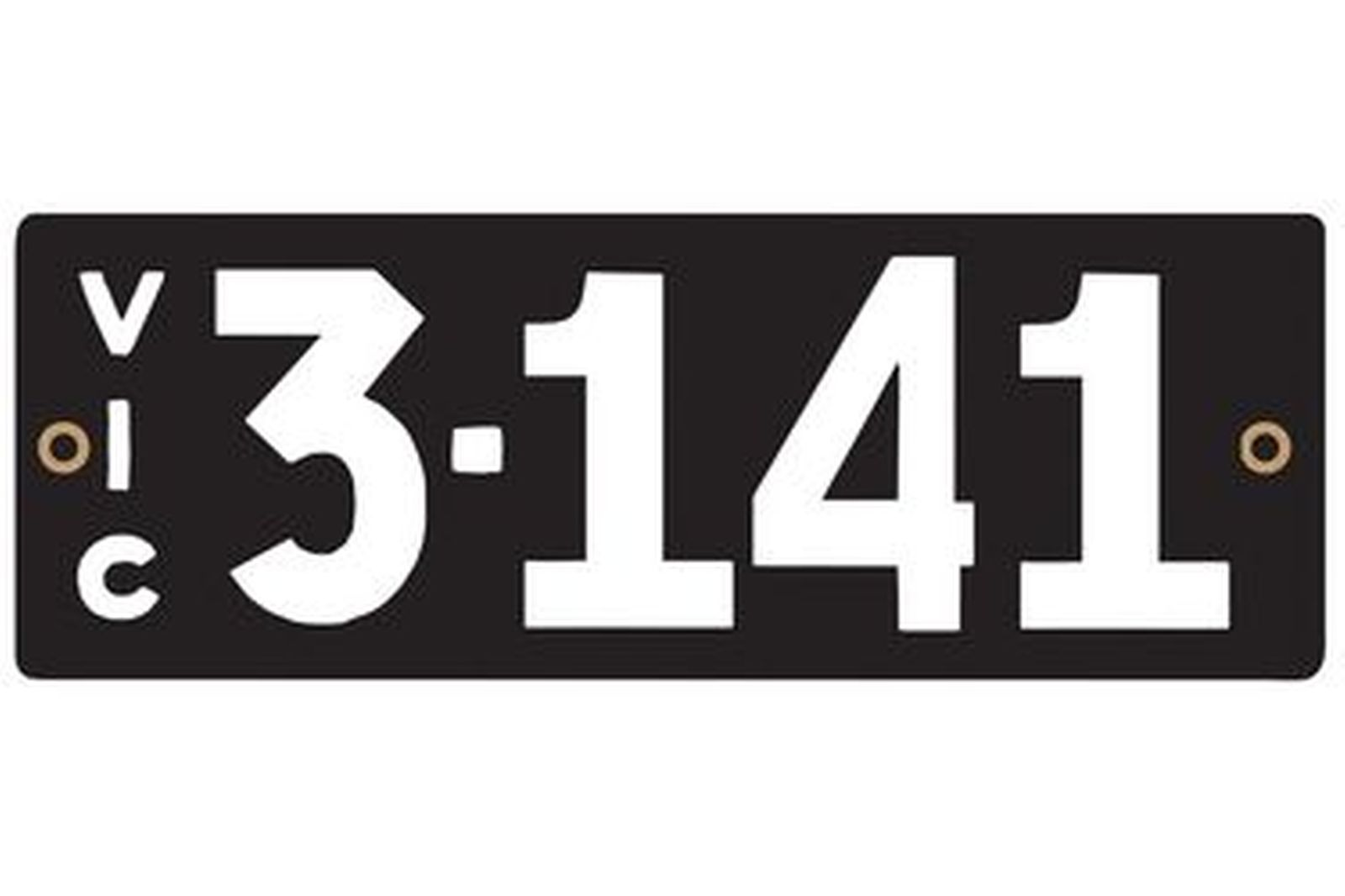 Victorian Heritage Numerical Number Plate - 3.141