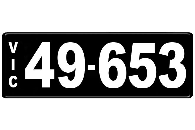 Number Plates - Victorian Numerical Number Plates - '49-653'