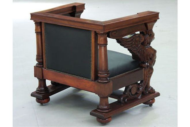 Arm Chair - Carved Cuban Mahogany by R.J Horner upholstered in Tufted Black Leather