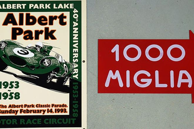 Enamel Signs x 2 - Albert Park Lake 40th Anniversary - No.10/100 & Mille Miglia
