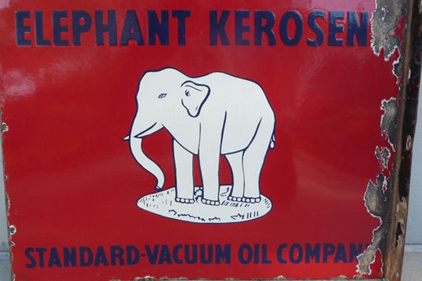 Enamel Sign - Elephant Kerosene Standard Vacuum Oil Company Double Sided/Post Mount  (61cm x 46cm)
