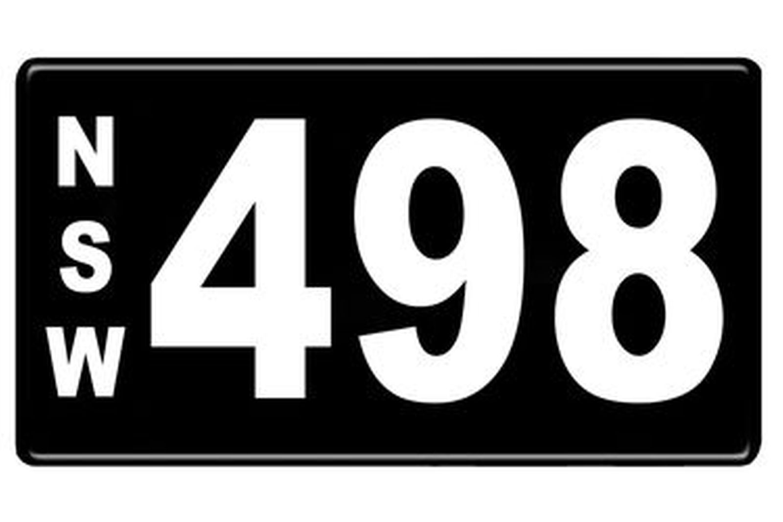 Number Plates - NSW Numerical Number Plates '498'