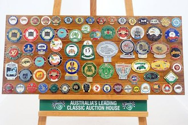 Badge Board - Assorted Veteran, Vintage & Classic Rally Badges (Qty 73)