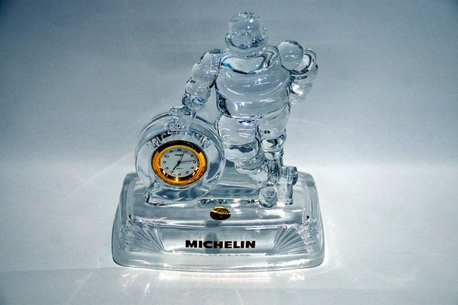 Chrystal D'Arque Statue With Clock - Michelin Man