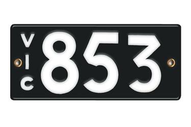 Victorian Vitreous Enamel Number Plates -  '853'