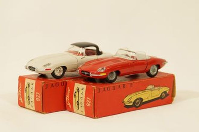 Model Cars x 2 - Tekno diecast Jaguar E-Type Roadster in Red & White with hardtop (all in boxes)