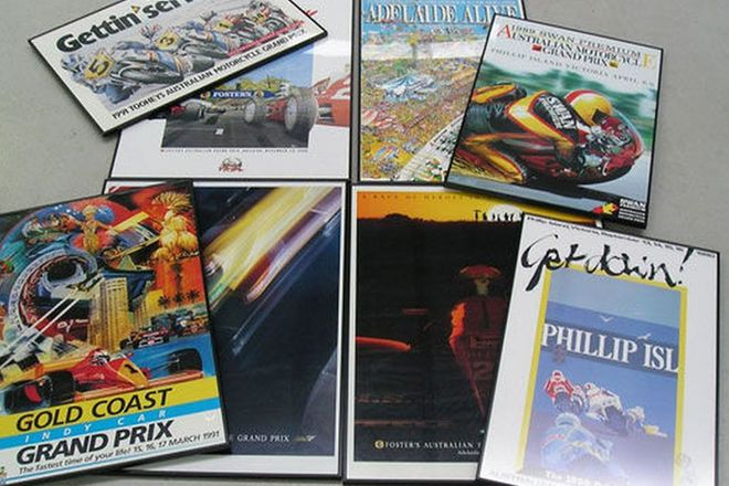 Framed Posters x 8 - 1991 Gold Coast Indy, 3 x 500cc Motorcycle Grand Prix, 4 x Adelaide Gra