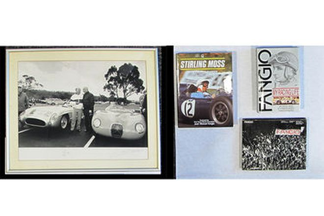 Framed Signed Photo - Signed by Moss & Fangio at Adelaide in 1986 & 3 books (1 signed by Fangio)