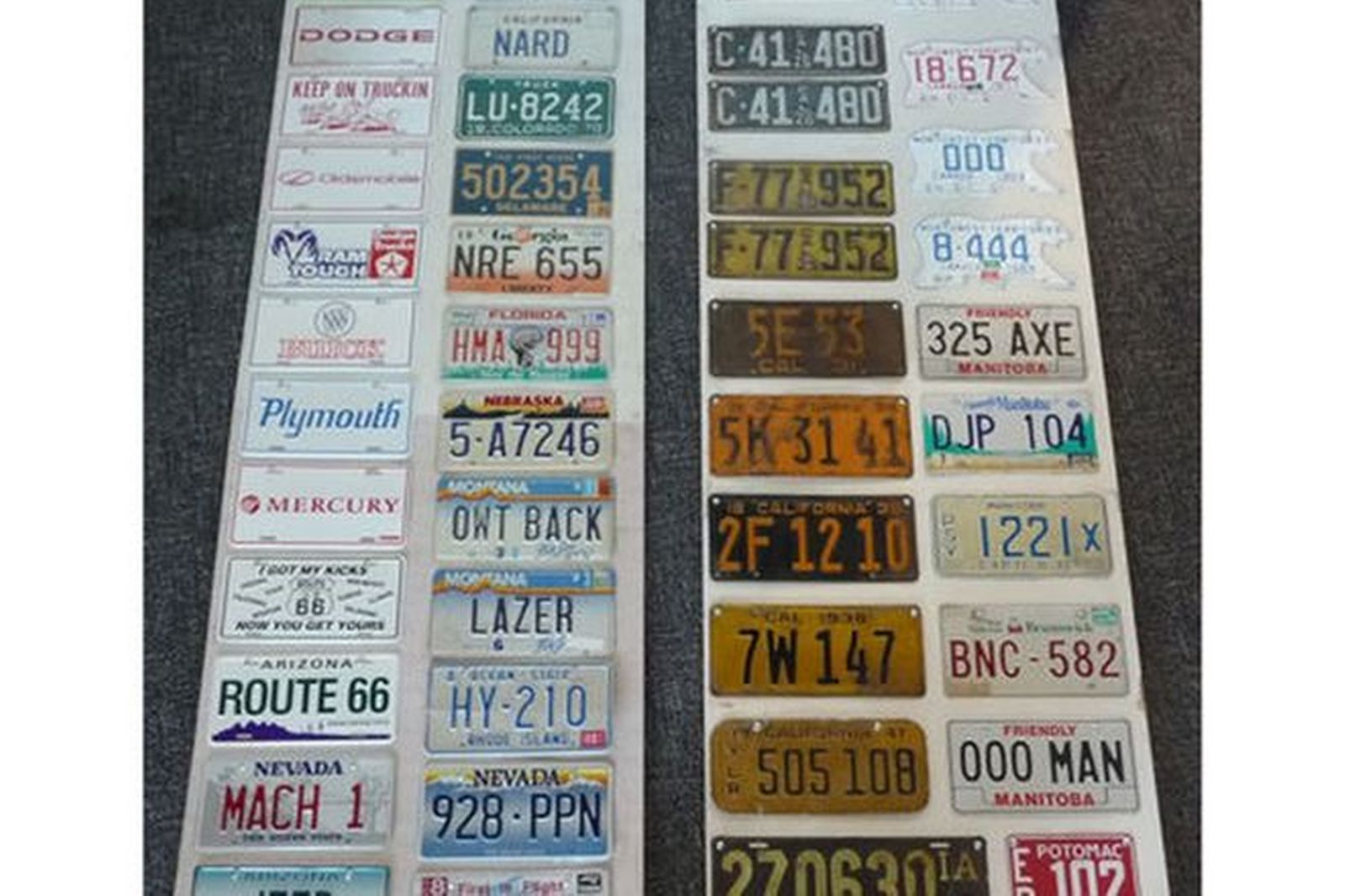 Number Plates - 45 Canadian & US Number Plates Mounted on Display Board