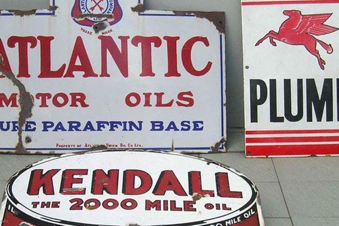 Enamel Signs x3 - Atlantic, Plume & Kendall (80 x 50cm, 50 x 30cm & 56 x 43cm)