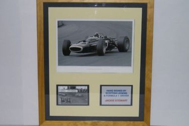 CHARITY LOT - 2 X Signed Framed Prints, F1 Classic Collection of Sir Jack Brabham & Sir Jackie Stewa