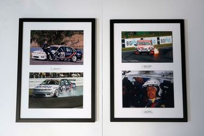 Framed Signed Photos - 2 x Peter Brock Murray's Corner, Bathurst 2004, Holden Racing Lakeside 1997