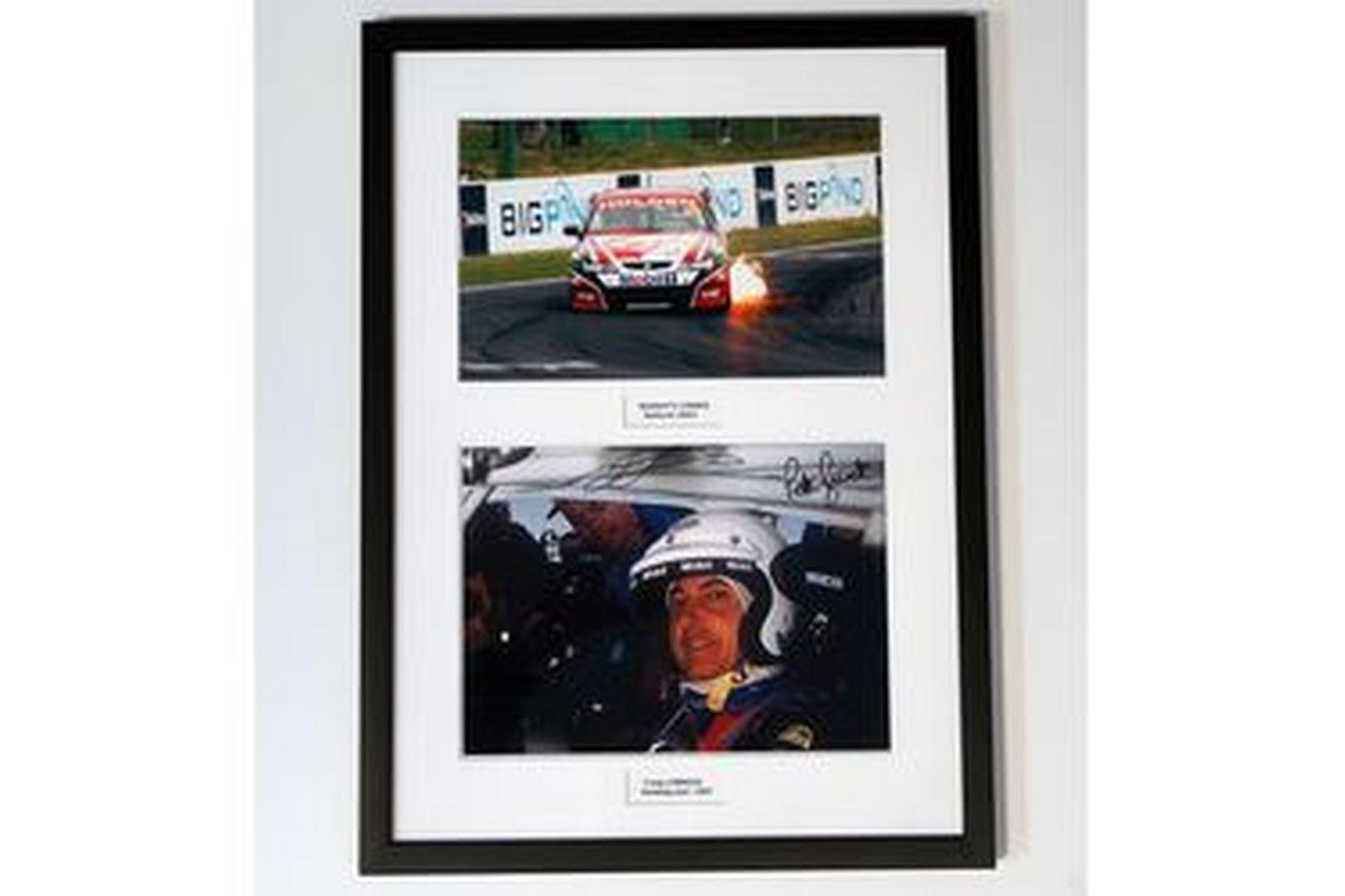 Framed Signed Photos - 2 x Peter Brock Murray's Corner, Bathurst 2004, Holden Racing Lakeside 1997