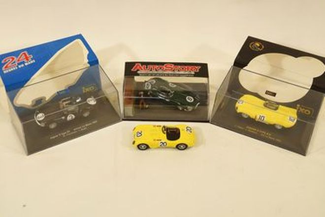 Model Cars x4 - Ixo Jaguar D-Types & IXO Jaguar C-Type  & Brumm Jaguar D-Type