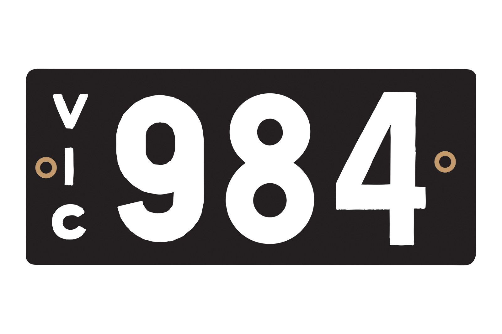 Number Plates - Victorian Heritage Numerical Number Plates '984'