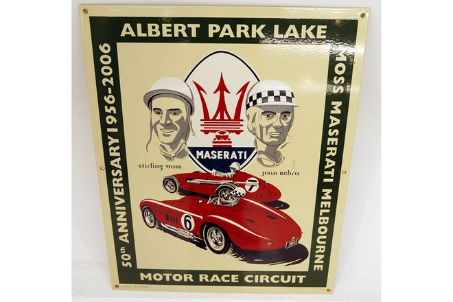 Enamel Sign - Albert Park Lake - 50th Anniversary Maserati New