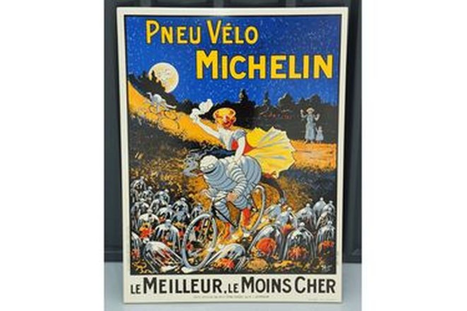 Enamel Sign - Pneu Velo Michelin 'Girl on Bike'  (80 x 60cm)