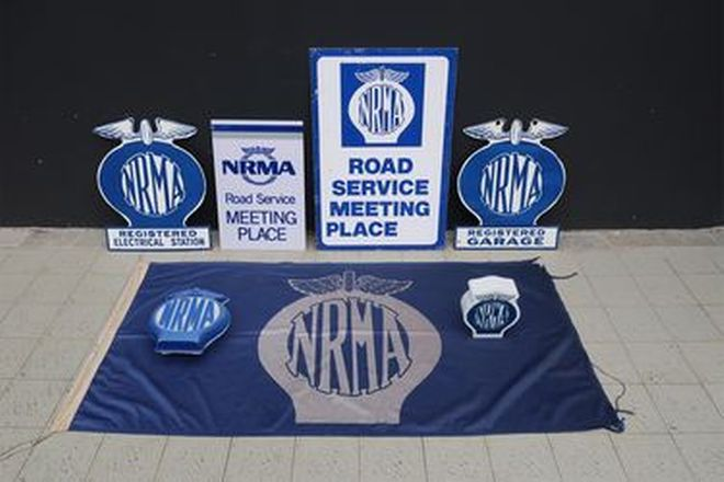 Signs - NRMA Tin & 2 x Double Sided Enamel & Road Service Meeting Plastic & 2 x Plastic
