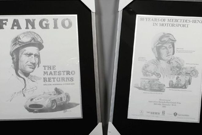 Framed Posters x 2 - Fangio The Maestro Returns & 80 Years of Mercedes-Benz in Motorsport