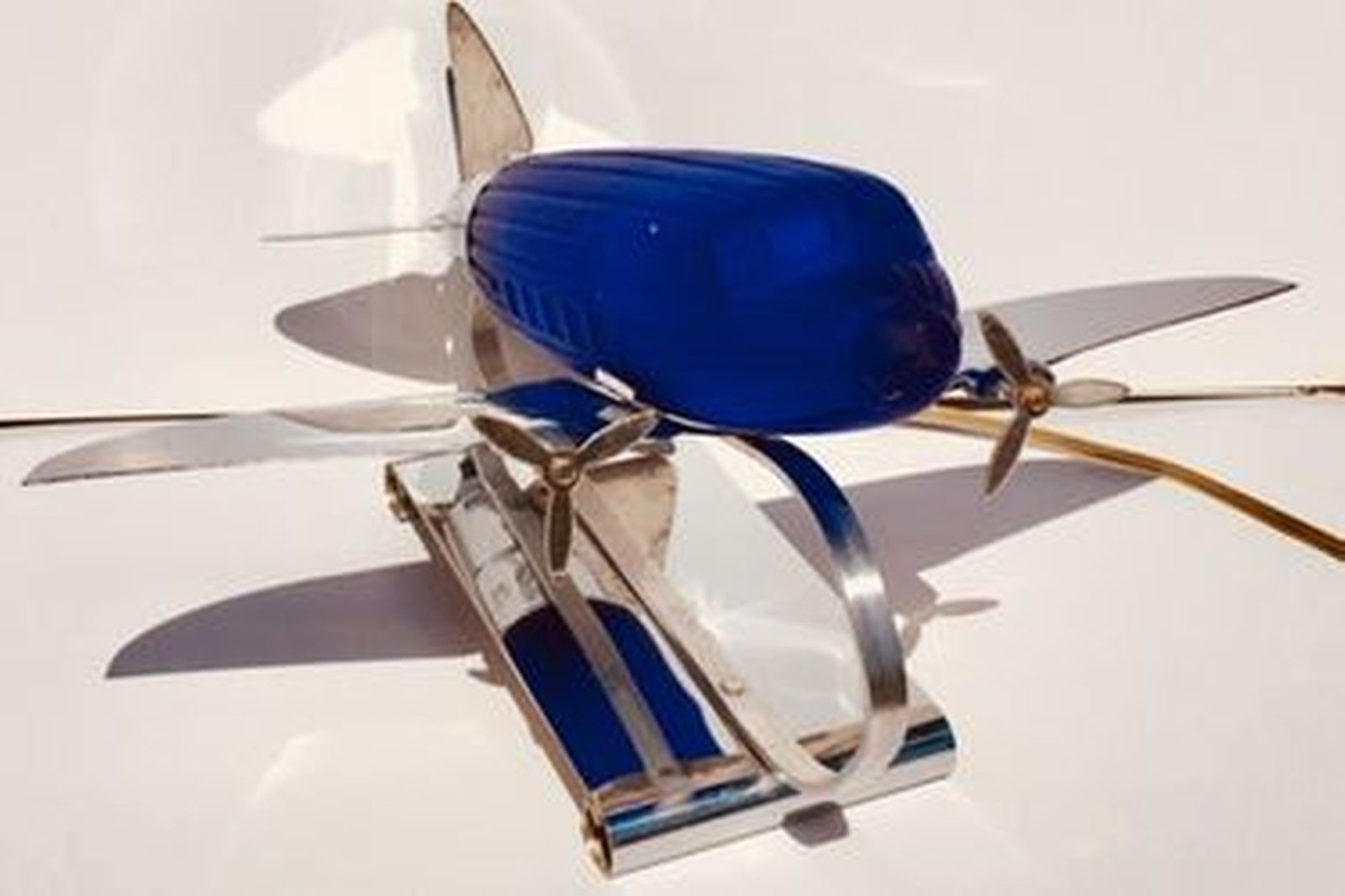 Genuine Art Deco DC3 Lamp available with either white or Blue cobalt Blue shade
