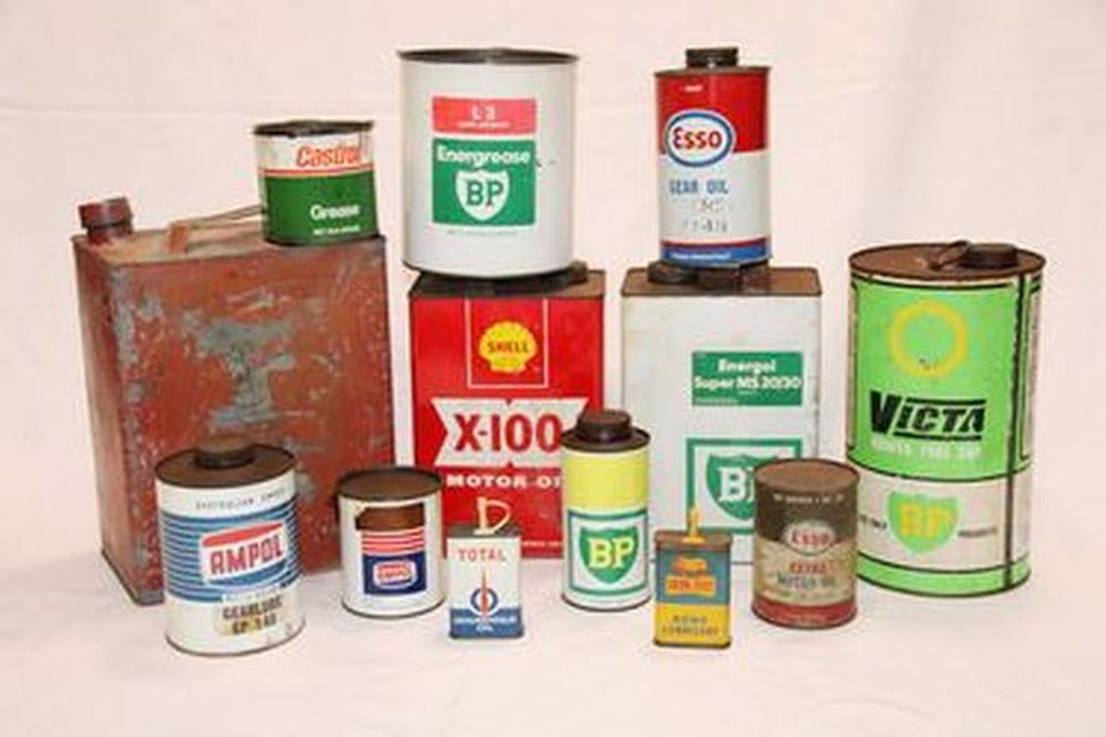 Assorted Oil and Petrol Related Cans x 13
