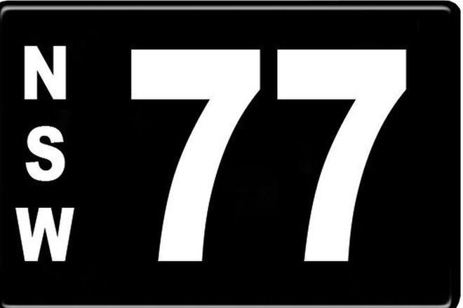 Number Plates - NSW Motorcycle Numerical Number Plates '77'