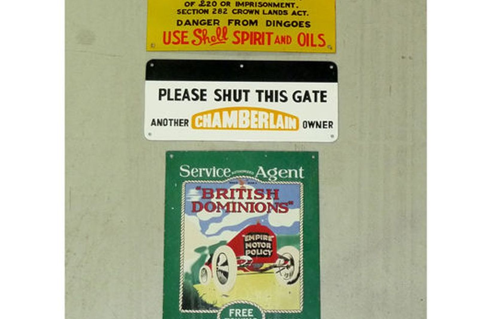 Enamel Signs x 3 - Dominions, Shell & Chamberland Tractors 'Shut the Gate' signs (Reproduction)