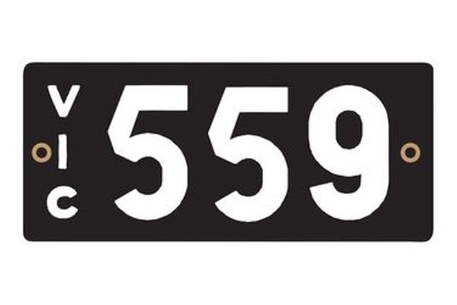 Victorian Heritage Numerical Number Plates '559'
