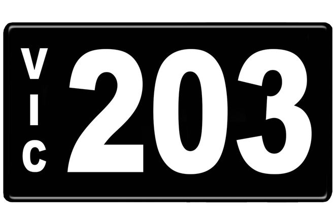 Number Plates - Victorian Numerical Number Plates '203'