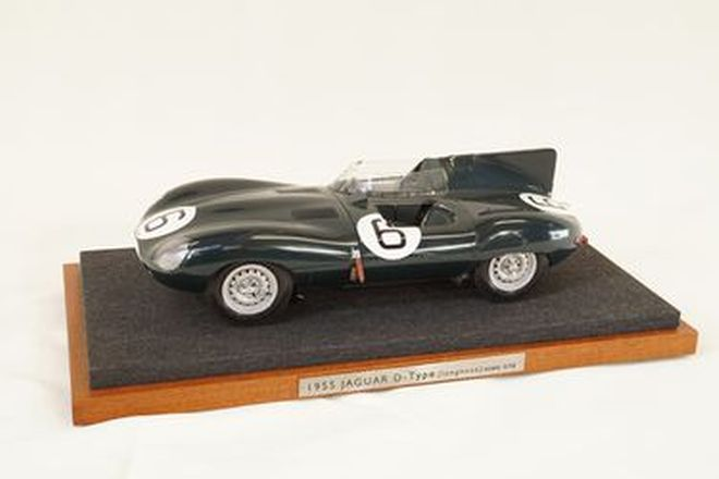 Handbuilt Model - 1955 Jaguar D-Type #6 long nose on wooden plynth by G.Climo, NZ (1:12 Scale)