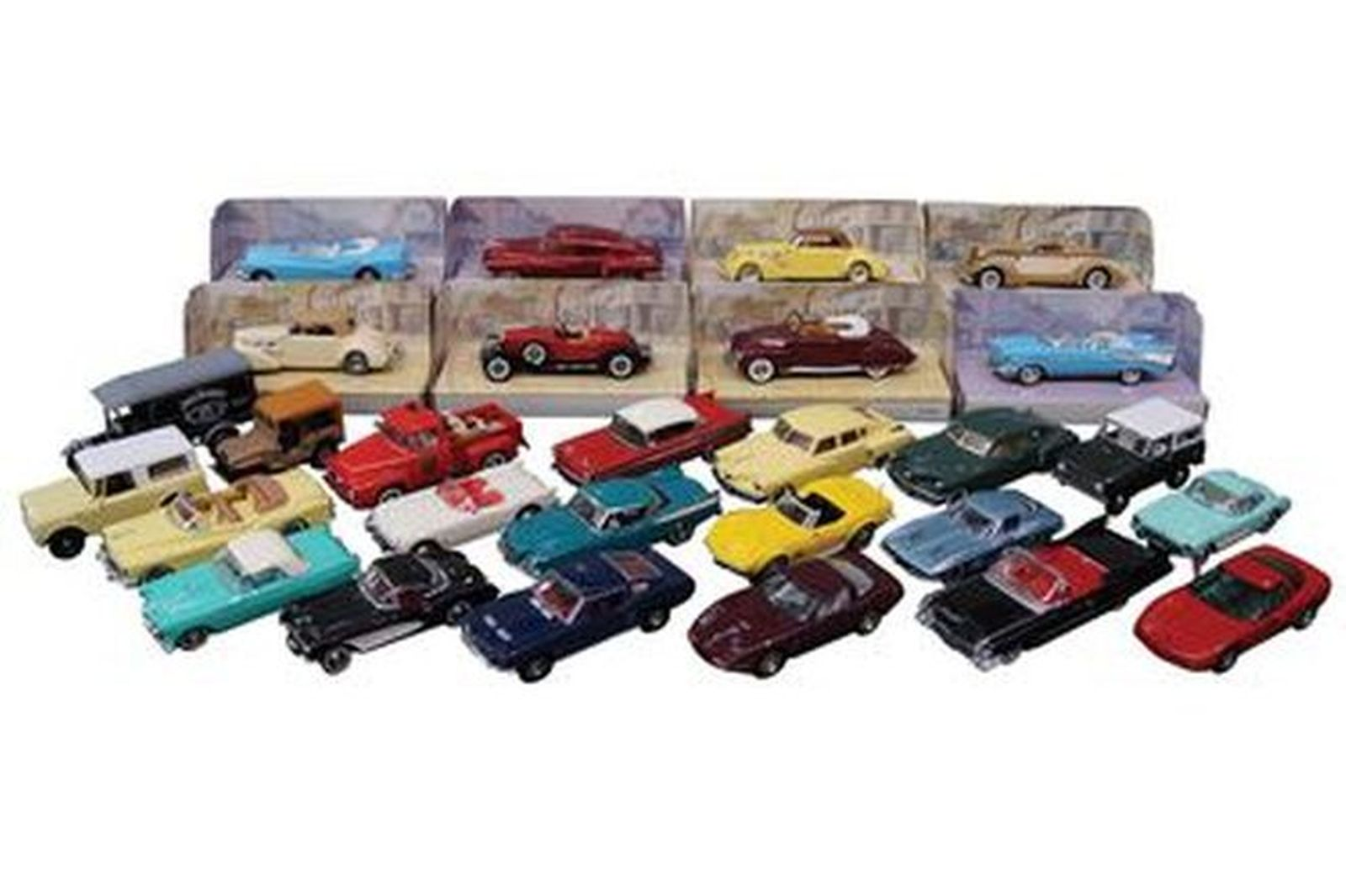 Model Cars - 28 x Assorted USA Classic Cars (Scale: 1:43)
