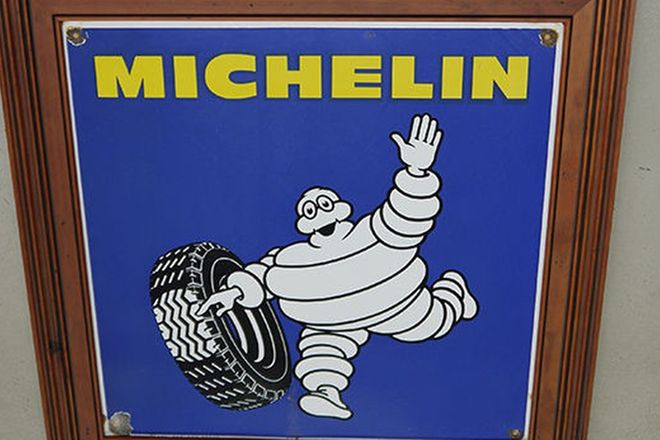 Enamel Sign -  Michelin (65 x 65cm) on wooden frame