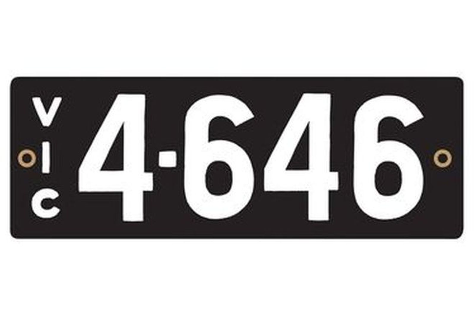 Number Plates - Victorian Heritage Numerical Number Plates '4-646'