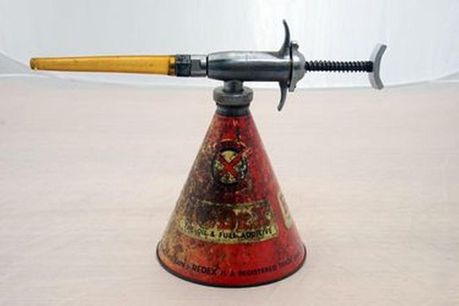 Oil Can Dispenser - c1960s Redex Conical UCL Oil Can Dispenser (23cm Tall)