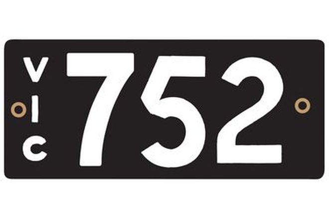 Number Plates - Victorian Numerical Number Plates '752'