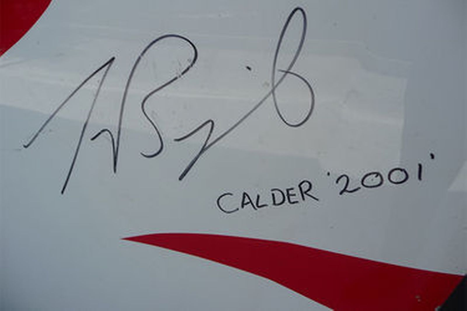 Signed Car Bonnet - V8 Supercar Bonnet - signed by Jason Bright, Calder 2001