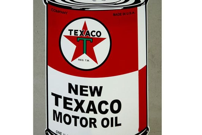 Sign - Texaco Oil Can Sign (Reproduction) (86 x 55cm)